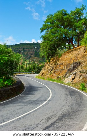 Asphalt Road between Hills Covered with Vineyard in Portugal - stock photo