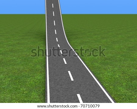 Asphalt road going up in the sky - stock photo