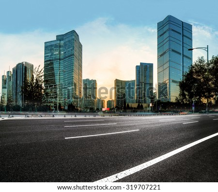 Asphalt road High way with city background,good