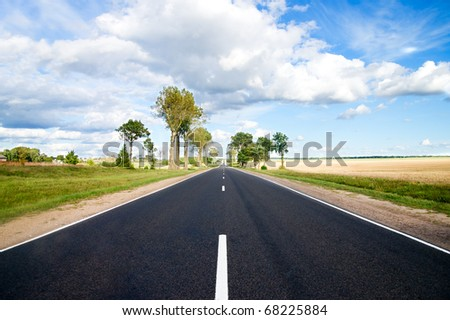 Asphalt road in green meadow. Belarus.