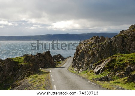 Asphalt road is running along north Norwegian coast. This is the road to Hamningberg. Highway is photographed with diminishing perspective. - stock photo