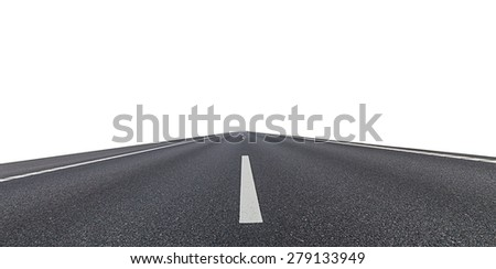 asphalt road isolated on a white background - stock photo