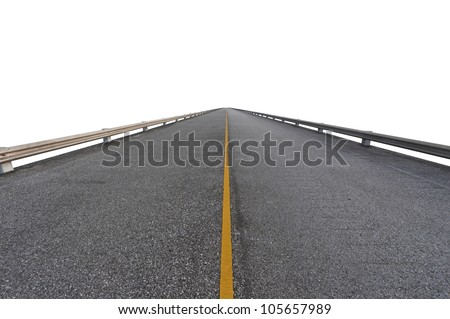 Asphalt road on white with path - stock photo