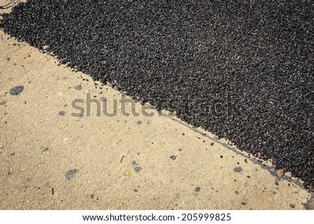 Asphalt road repair - stock photo