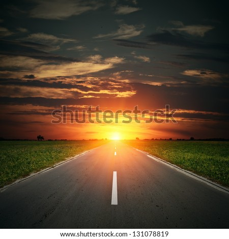 Asphalt road to horizon with sunset sky. Some birds are visible on full size photo