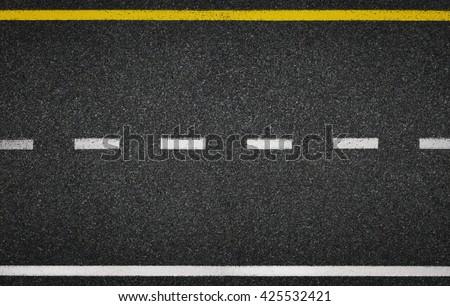 Asphalt road top view. Highway line marks. - stock photo