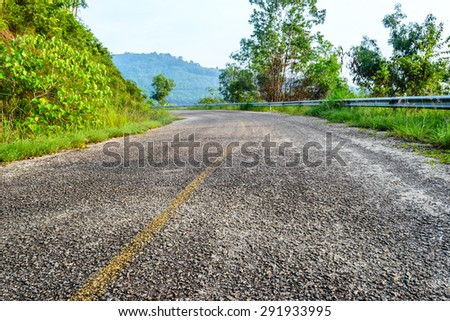 asphalt road with tropical forest