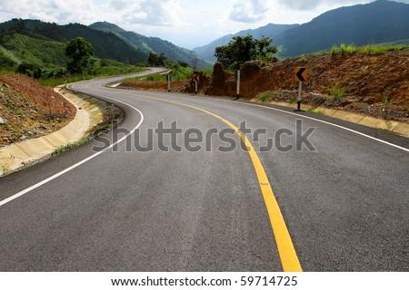 asphalt roadway - stock photo