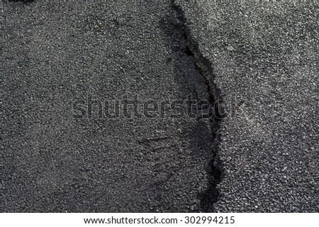 Asphalt surface was demolished due to poor construction. - stock photo