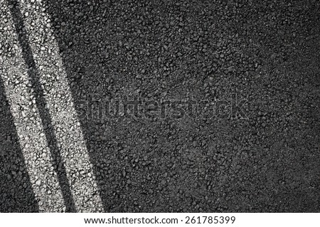 Asphalt texture with separation lines, top view - stock photo
