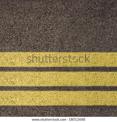 Asphalt texture with three yellow lines