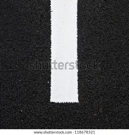 Asphalt texture with white line, road sign - stock photo