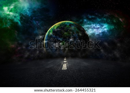 asphalted highway over night sky with earth stars background. Elements of this image furnished by NASA - stock photo