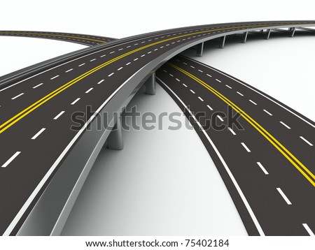 asphalted road on white. Isolated 3D image - stock photo