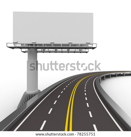 asphalted road with billboard. Isolated 3D image - stock photo