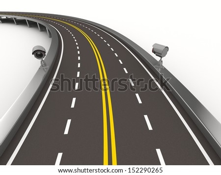 asphalted road with camera on white. Isolated 3D image - stock photo