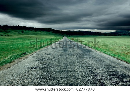 asphaltic road through the fields - stock photo