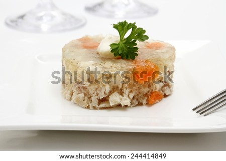 Aspic of chicken with carrots in form of heart, close up - stock photo
