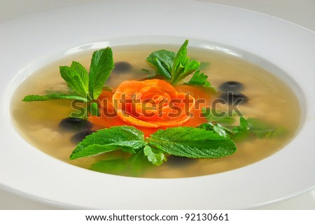 aspic salad vegetables with spices - stock photo