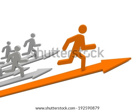 Aspiration to win of leader in competition. Concept. 3d illustration. - stock photo