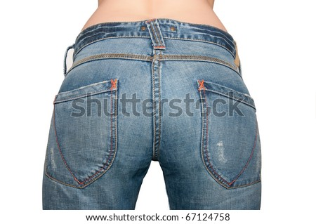 Ass girl dressed in blue jeans with pockets