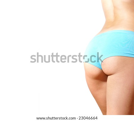 Ass of beautiful young female sportsman isolated on white