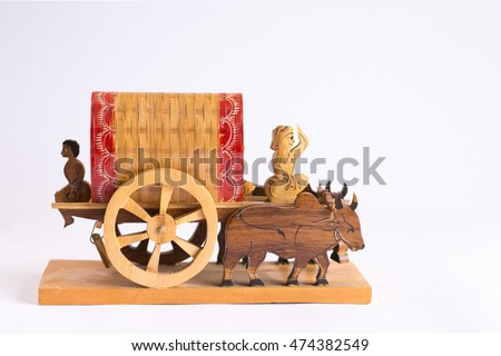 Assamese Hand made traditional Bullock Cart composed of Bamboo and wood.