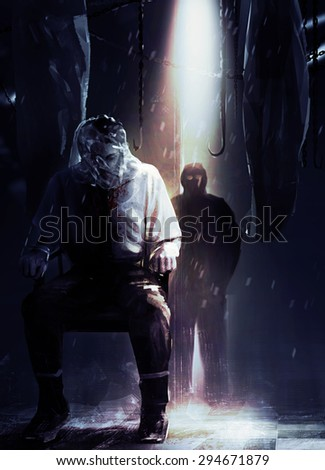 Assassin and victim. Silent assassin standing in shadows with his victim tied to a chair illustration. - stock photo
