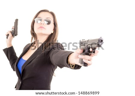 Assassin girl portrait with two guns - stock photo