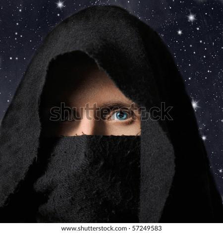 Assassin in darkness - stock photo