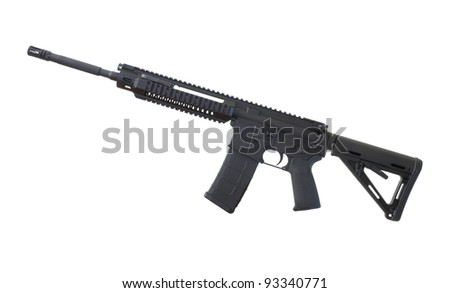 Assault rifle in black that is isolated on a white background - stock photo
