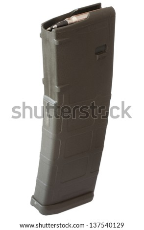 Assault rifle magazine that has a round capacity of thirty - stock photo