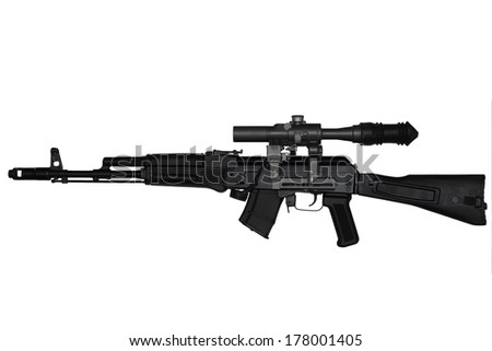 Assault rifle with riflescope left side view isolated on white background - stock photo