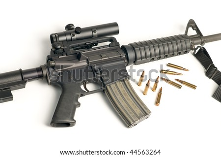 Assault Rifle with Scope & Bullets on White - stock photo