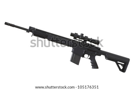 Assault style rifle that has a rifle scope on top of its rail - stock photo
