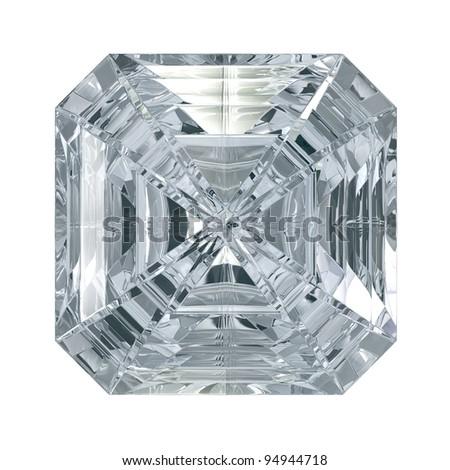 Asscher Cut Diamond isolated on black background - stock photo