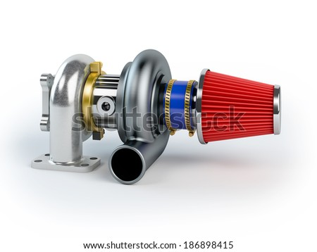 Assembled turbocharger sistem with air filter isolated on white background - stock photo