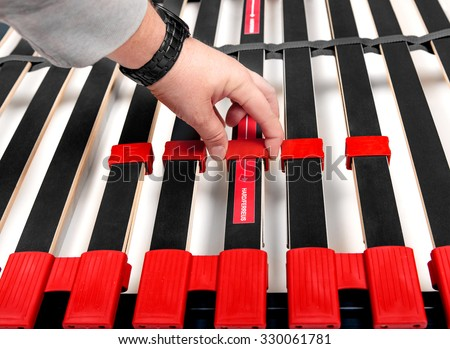Assembling bed slats for latoflex - Bed frame and mattress base surface - stock photo