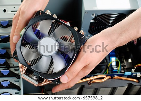 Assembling computer - stock photo