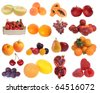Assembling of delicious fresh fruit isolated on white background - stock photo