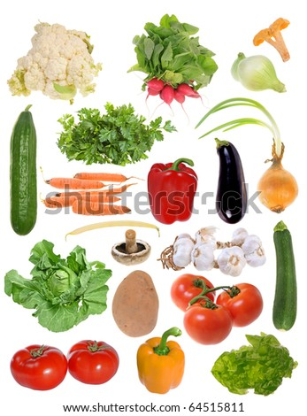 Assembling of delicious fresh vegetables isolated on white background - stock photo