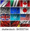 Assembling of flags on white background - stock photo