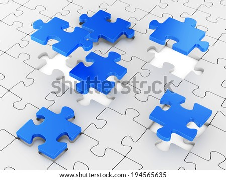Assembling puzzles. Business teamwork concept. - stock photo