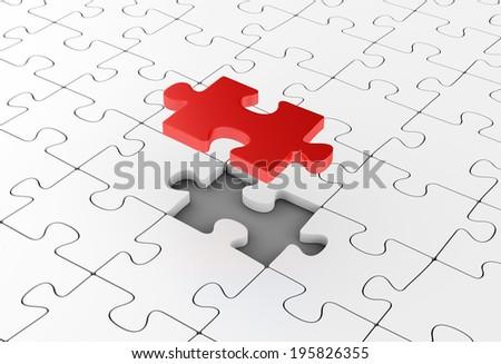 Assembling puzzles. Unique element. Business solutions, leadership and success concept. - stock photo