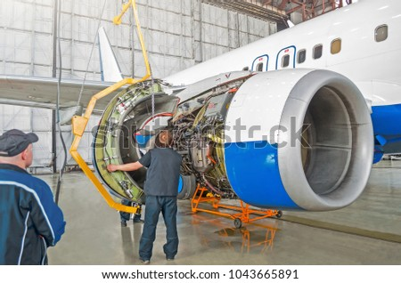 Assembling Replacing Engine Parts Aircraft After Stock Photo ...