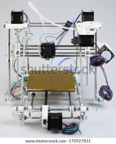 Assembling the Open Source 3D Printer Device - stock photo