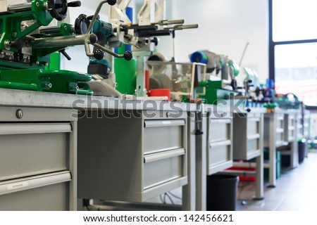Assembly line of pipelines at workroom - stock photo