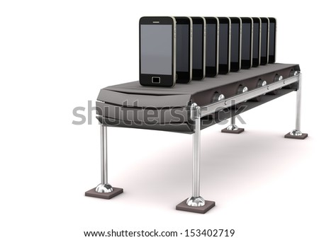 Assembly line with smartphones on the white background. - stock photo