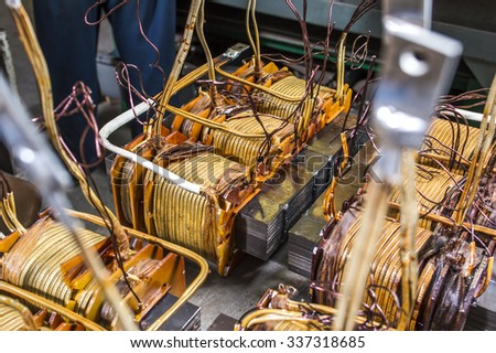 assembly of transformers - stock photo