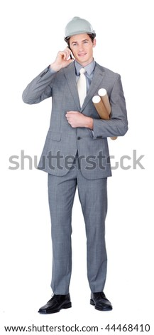 Assertive male architect talking on phone standing in front of the camera - stock photo